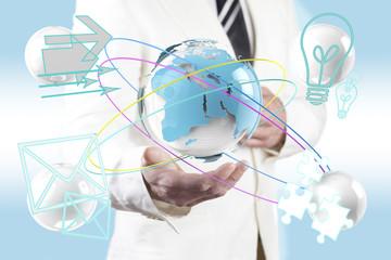 Concepto de negocio global. Mapa del mundo.