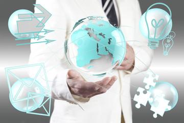 Concepto de negocio global. Mapa del mundo y iconos
