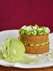 Gourmet cake and ice cream with Japanese green tea Matcha