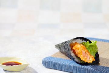 エビカツの手巻き寿司
