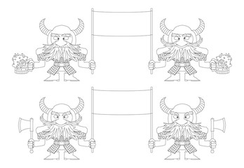 Dwarfs with banners, outline, set