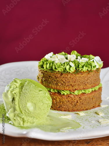 Gourmet cake and ice cream with Japanese green tea Matcha
