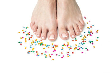 Womans feet with French pedicure
