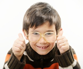 Little boy with glasses isolated on white
