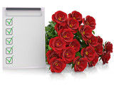 Group of red roses and checklist
