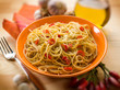 spaghetti with garlic oil and hot chili pepper, selective focus