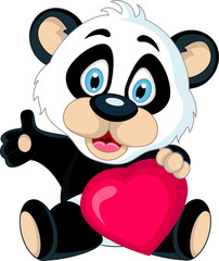 cute Baby panda holding love heart