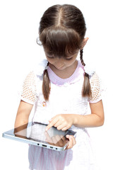 Girl with ipad like gadget isolated white background
