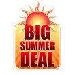 big summer deal in label with sun
