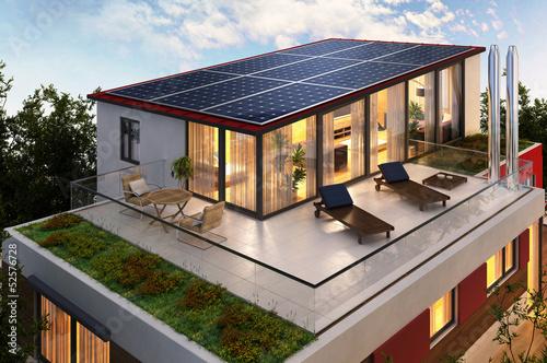 Leinwanddruck Bild Solar panels on the roof of the penthouse