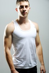 Portrait of a handsome muscular young man
