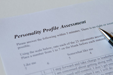 personality assessment form on white