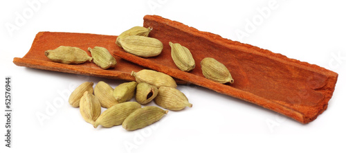 Cardamom seeds with cinnamon bark