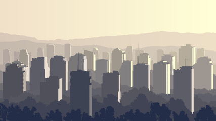 Illustration of big city at sunset.