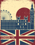 London landmark.Vintage background with England flag on old pos