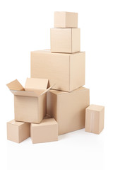 Cardboard boxes stack with clipping path