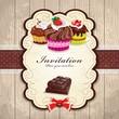 Vintage chocolate cupcake invitation template