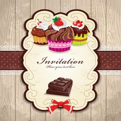 Vintage chocolate cupcake invitation template