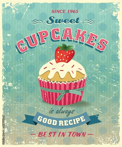 Poster Retro cupcake poster vector illustration
