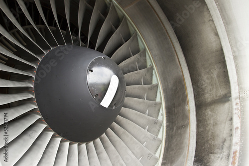 Close-up of a turbofan jet engine in modern airplane