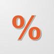 Orange Percent Symbol Paper