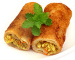 Vegetable roll with fresh mint leaves