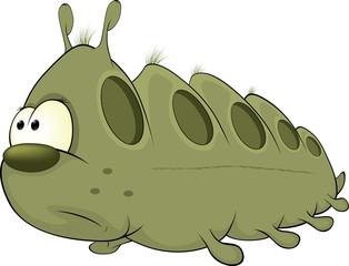 Green worm. Cartoon
