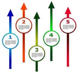 frecce vettoriali colorate con cornice e spazio per il testo
