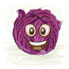 happy red cabbage vegetable cartoon character smiling..