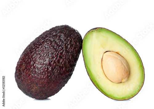 Fresh avocado cut in half