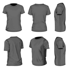 Men's black short sleeve t-shirt design templates