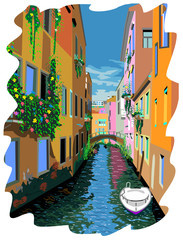 Vector illustration of Venice street