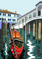 Vector image of the Rialto Bridge in Venice