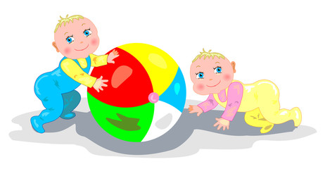 Babies playing with a ball
