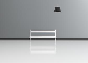 Moderner Raum mit Bank und Hängeleuchte