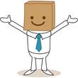 Geschäftsmann, Karton, Box, happy face