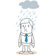 Geschäftsmann, Regen, Wolke, traurig, Pech