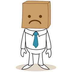 Geschäftsmann, Karton, Box, sad face