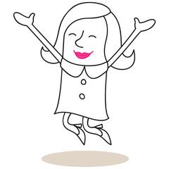 Geschäftsfrau, springen, Jubel, glücklich
