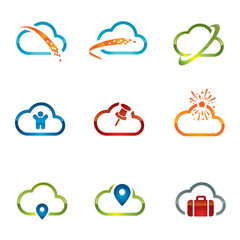 Set of Cloud icons 4