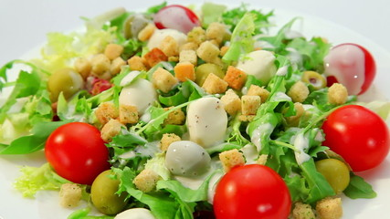 Vegetables salad with mozarella cheese