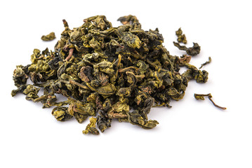 Dry oolong tea leaves