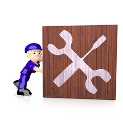 3d graphic of a technical mechanic icon  on delivered box