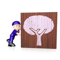 3d graphic of a eco abstract tree icon  on delivered box