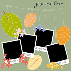 photo blanks on a rope on autumn background