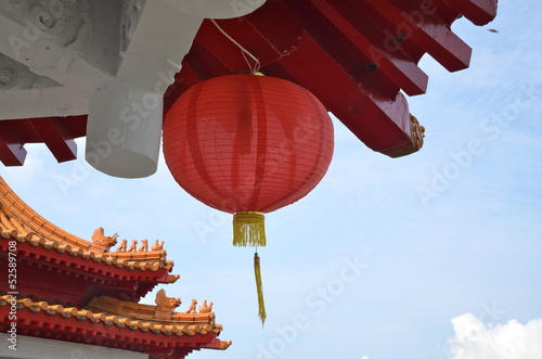 Detail of a Pagoda in Chinese Gardens in Singapore