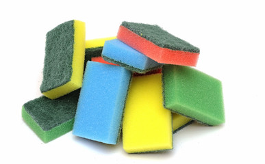 colorful sponge on the white background