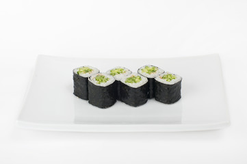 Classic roll with cucumber. Sushi.