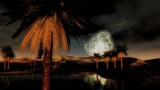 (1295) Full moon sunset desert oasis palms sand dunes