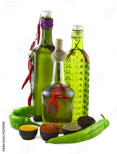 Spicy set with green pepper isolated